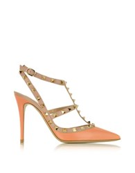 Valentino Rockstud Melon Sorbet And Powder Leather Ankle Strap Pump Orange