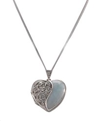 Lord And Taylor Sterling Silver Marcasite Jade Heart Locket
