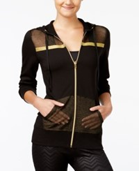 Material Girl Active Juniors' Mesh Zip Up Hoodie Only At Macy's Black