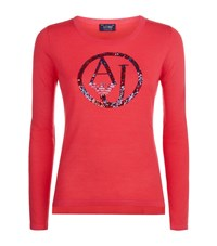 Armani Jeans Sequin Logo Embellished Sweater Female Pink
