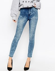 Asos Rivington High Waist Denim Ankle Grazer Jeggings In Peaceful Acid Wash Peacefulwash