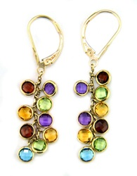 Effy 14K Yellow Gold Multi Colored Gemstone Drop Earrings 14 Kt. Yellow Gold