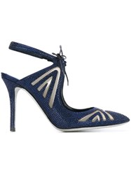 Rene Caovilla Embellished Cut Out Pumps Blue
