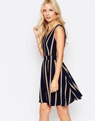 Iska Zip Back Skater Dress In Stripe Navy