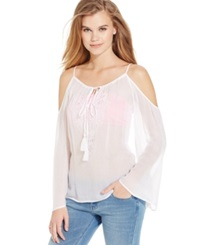 Jessica Simpson Long Sleeve Cutout Peasant Top White Solid
