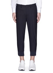 Neil Barrett Side Zip Cuff Virgin Wool Blend Pants Blue