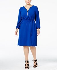 Inc International Concepts Plus Size Zip Neck Belted Dress Only At Macy's Goddess Blue