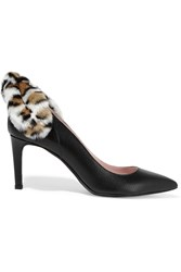 Carven Faux Fur Trimmed Textured Leather Pumps Black
