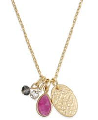 Macy's Inspired Life Gold Tone Multi Charm Stone Pendant Necklace Pink
