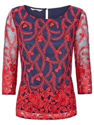 Fenn Wright Manson Lorna Embroidered Top Red Navy