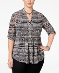 American Rag Trendy Plus Size Tie Back Blouse Only At Macy's Classic Black Combo