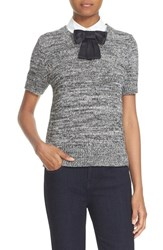 Kate Spade Women's New York Bow Collar Short Sleeve Sweater Black