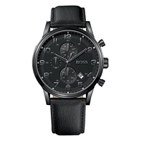 Boss Logo Boss 1512567 Men's Classic Aviator's Chronograph Strap Watch Black