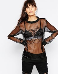 A Question Of Sheer Top With Roses Bk1 Black 1