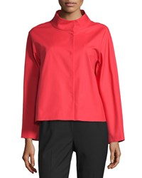 Lafayette 148 New York Olson Stand Collar Topper Jacket Tango Red