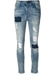 Rta Patchwork Distressed Jeans Blue