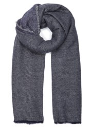 Lily And Lionel Navy Grey Wool Blend Scarf