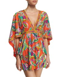 Trina Turk Sea Garden Printed Tunic Coverup Tangerine Orange