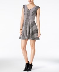 Bar Iii Textured Fit And Flare Dress Only At Macy's Black Combo