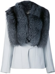 Jonathan Simkhai Fur Collar Coat Blue