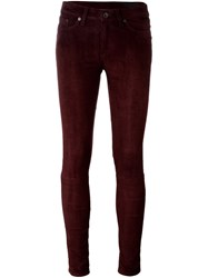 Rag And Bone Jean Suede Skinny Jeans Red