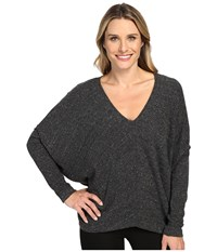 Heather Long Sleeve Slouchy Wedge Top Charcoal Women's Clothing Gray