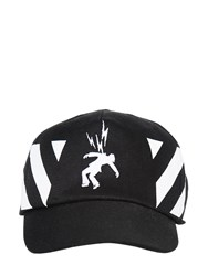 Off White Bolts And Stripes Cotton Baseball Cap