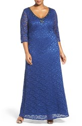 Alex Evenings Plus Size Women's Beaded V Neck Empire Lace Gown Cobalt