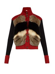 Red Valentino Fur And Wool Knit Cardigan Multi