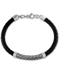 Effy Collection Men's Woven Bracelet In Leather And Stainless Steel