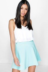 Boohoo Fit And Flare Skater Skirt Blue