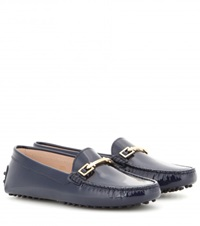 Tod's Gommini Patent Leather Loafters Blue
