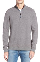 Tommy Bahama Men's Flip Side Reversible Quarter Zip Twill Pullover Forged Iron Heather