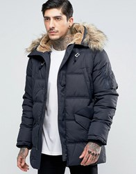 Schott Snork Quilted Hooded Parka Detachable Faux Fur Trim Navy