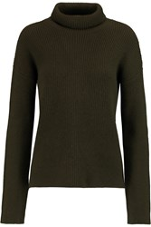 Helmut Lang Ribbed Wool And Cashmere Blend Turtleneck Sweater Green