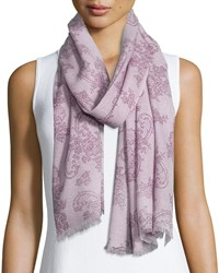 Neiman Marcus Faded Lace Print Scarf Lilac Dark Lilac