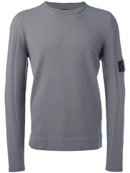 Stone Island Shadow Project Removable Arm Badge Jumper Grey