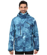 Obermeyer Poseidon Jacket Squall Print Men's Coat Blue