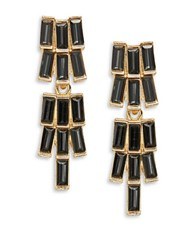 Robert Rose Emerald Cut Chandelier Earrings Black