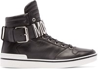 Moschino Black Leather Logo High Top Sneakers
