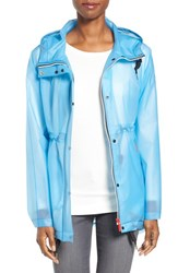 Hunter Women's 'Original Smock' Hooded Drawstring Waterproof Jacket Pale Blue