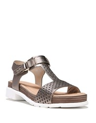 Dr. Scholl's Original Collection Metallic Leather Hinda Sandals Pewter