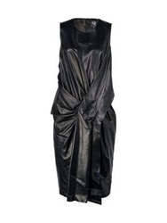 Mcq By Alexander Mcqueen Mcq Alexander Mcqueen Twisted Draped Long Leather Dress Black