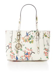 Guess Isabeau Ivory Floral Medium Tote Bag Ivory