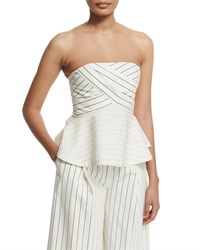 Nicholas Striped Bustier Peplum Top White
