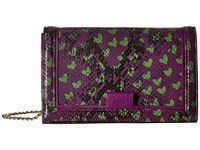 Boutique Moschino Python And Hearts Print Crossbody Fantasy Print Violet Cross Body Handbags Brown
