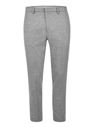 Topman Light Grey Wool Blend Cropped Dress Pants