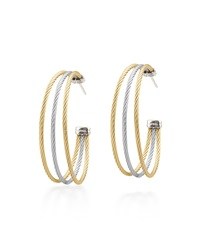 Alor Stainless Steel Cable Three Row Hoop Earrings Gray Yellow