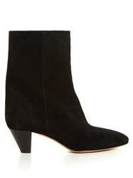 Isabel Marant Etoile Dyna Cone Heel Suede Ankle Boots Black