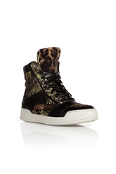 Balmain Cotton Leather Printed Sneakers
